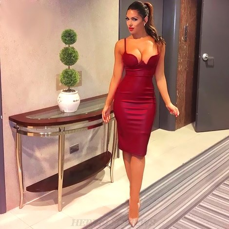Herve Leger Bustier Faux Leather Burgundy