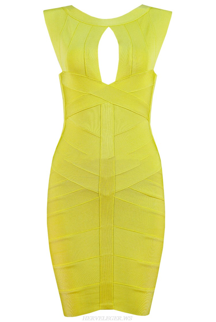 Herve Leger Yellow Cut Out Detail Dress