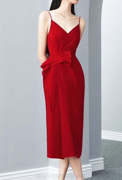 Herve Leger Red Draped Detail Dress