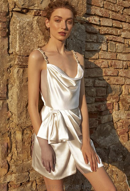 Herve Leger White Embellished Strap Draped Satin Dress