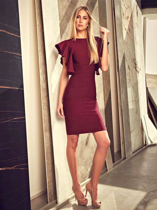Herve Leger Burgundy Frill Sleeve Dress