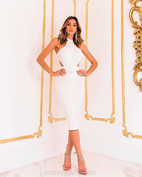 Herve Leger White Halter Belt Dress