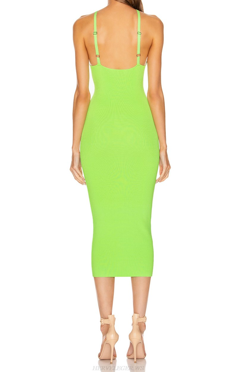 Herve Leger Neon Green Halter Dress