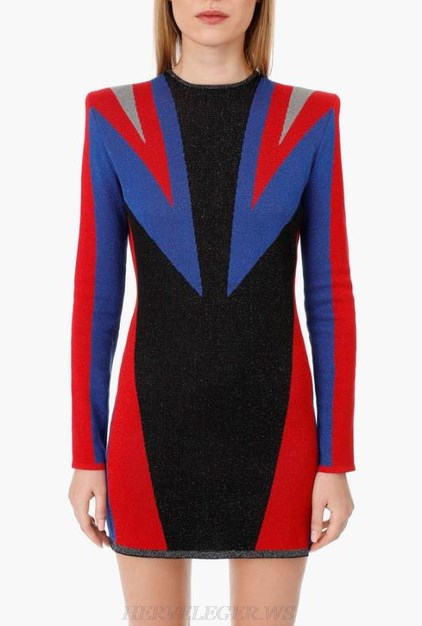 Herve Leger Black Blue Red Long Sleeve Dress