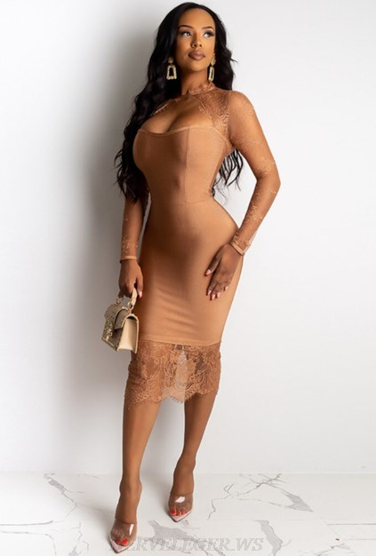 Herve Leger Brown Long Sleeve Lace Sweetheart Dress