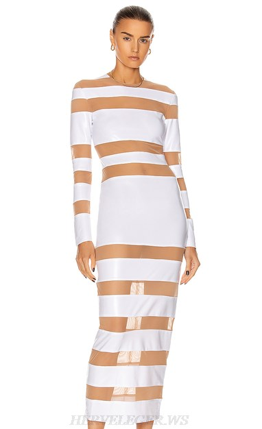 Herve Leger White Long Sleeve Mesh Dress