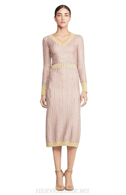 Herve Leger Nude Pink Long Sleeve Two Piece Dress