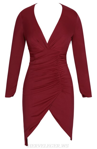 Herve Leger Burgundy Long Sleeve Ruched Dress