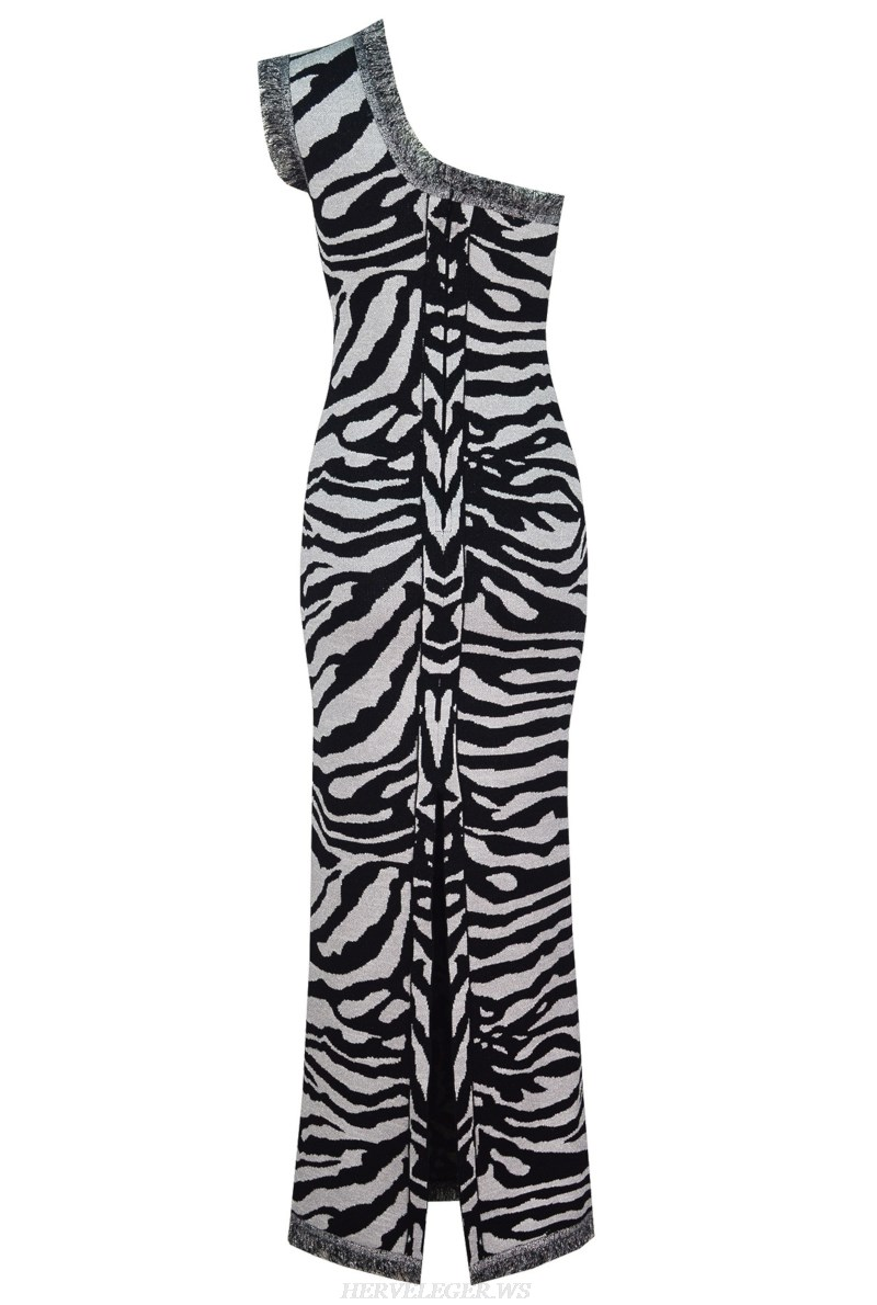 Herve Leger One Shoulder Animal Print Gown