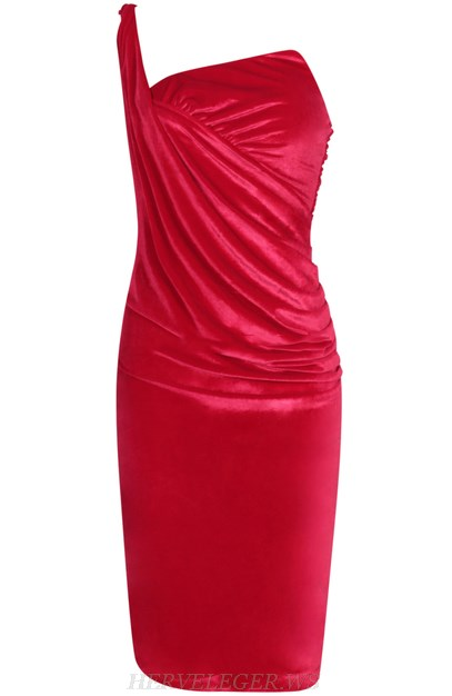 Herve Leger Red One Shoulder Ruched Velvet Dress
