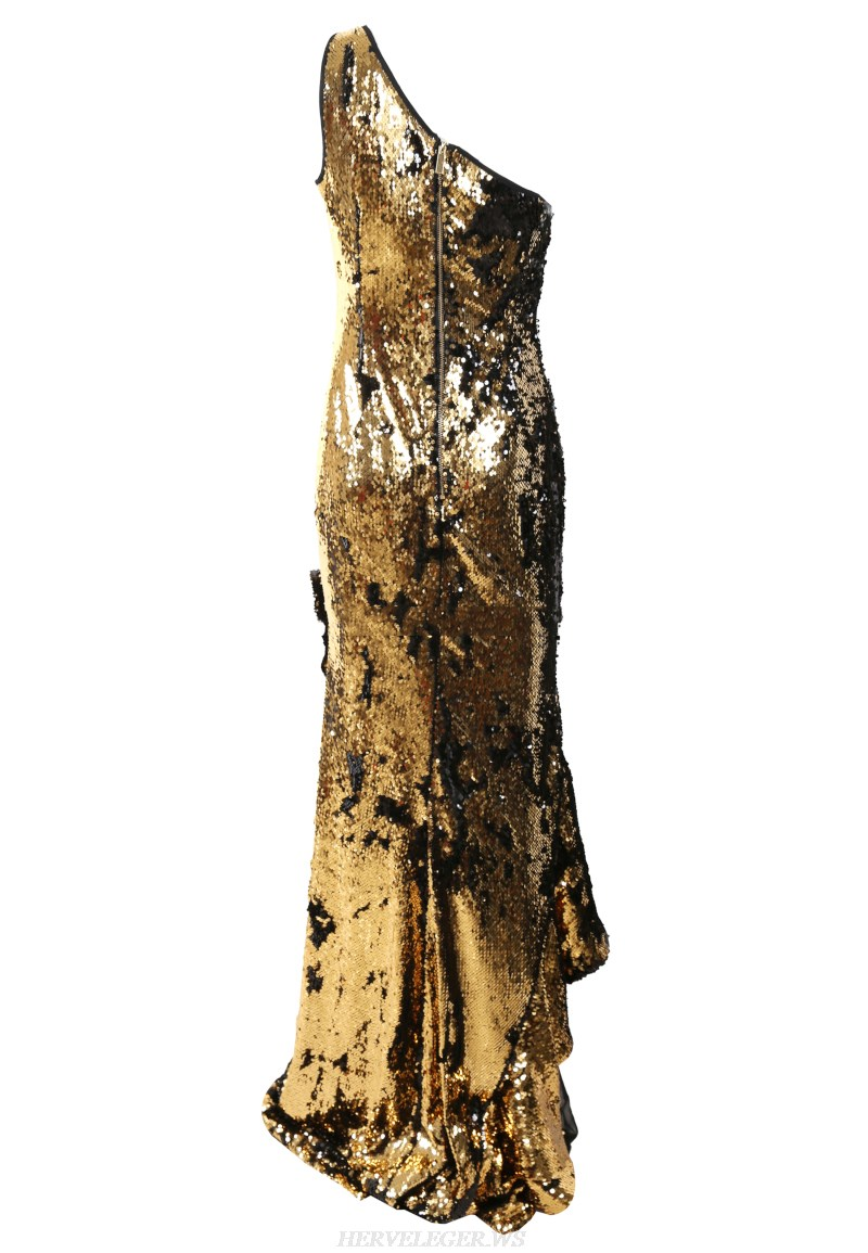 Herve Leger Gold One Shoulder Sequin Gown