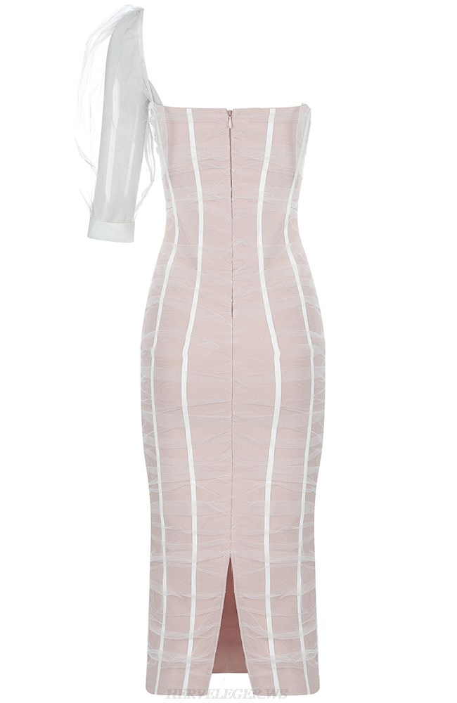 Herve Leger Nude White One Sleeve Mesh Dress