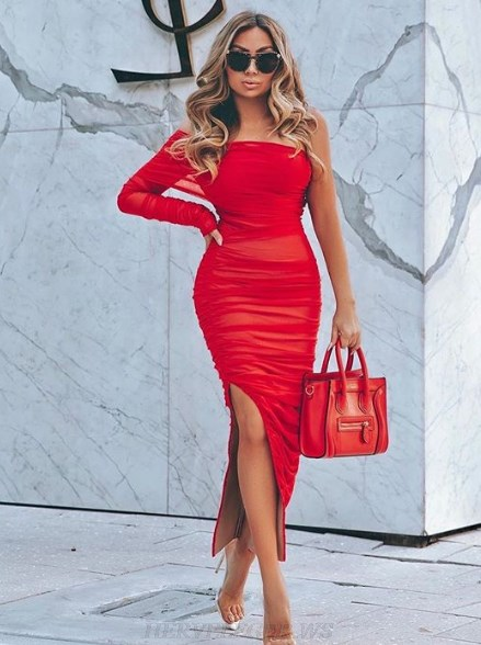 Herve Leger Red One Sleeve Ruched Dress