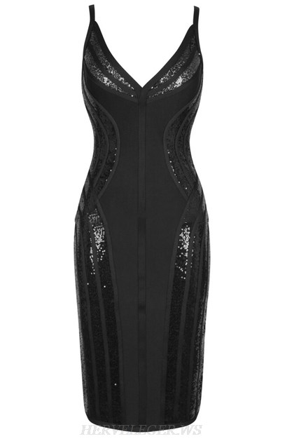 Herve Leger Black Sequin Structured Dress