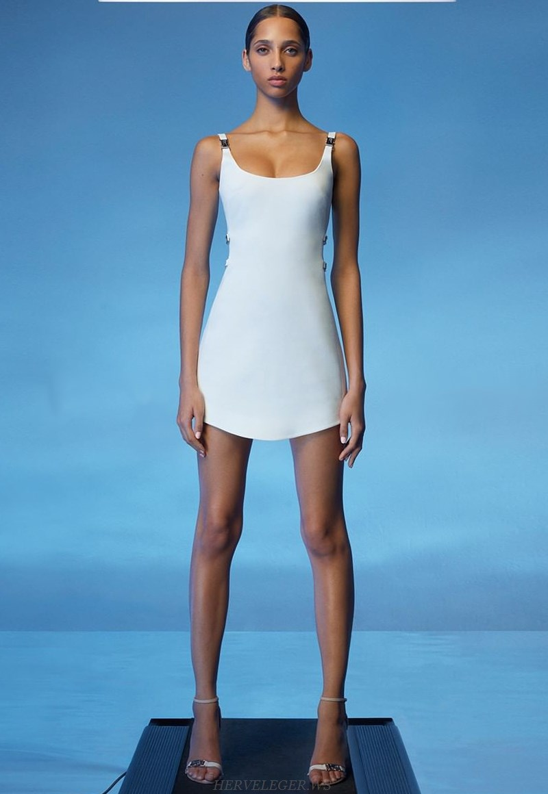 Herve Leger White Side Cut Out Dress
