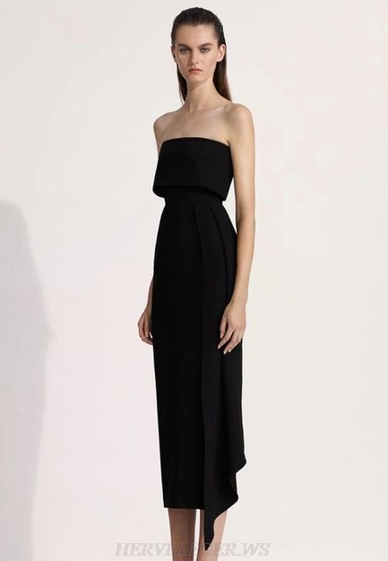 Herve Leger Black Strapless Asymmetric Dress