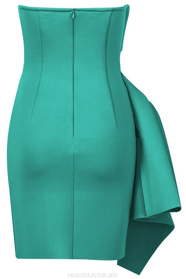 Herve Leger Green Strapless Draped Asymmetric Dress