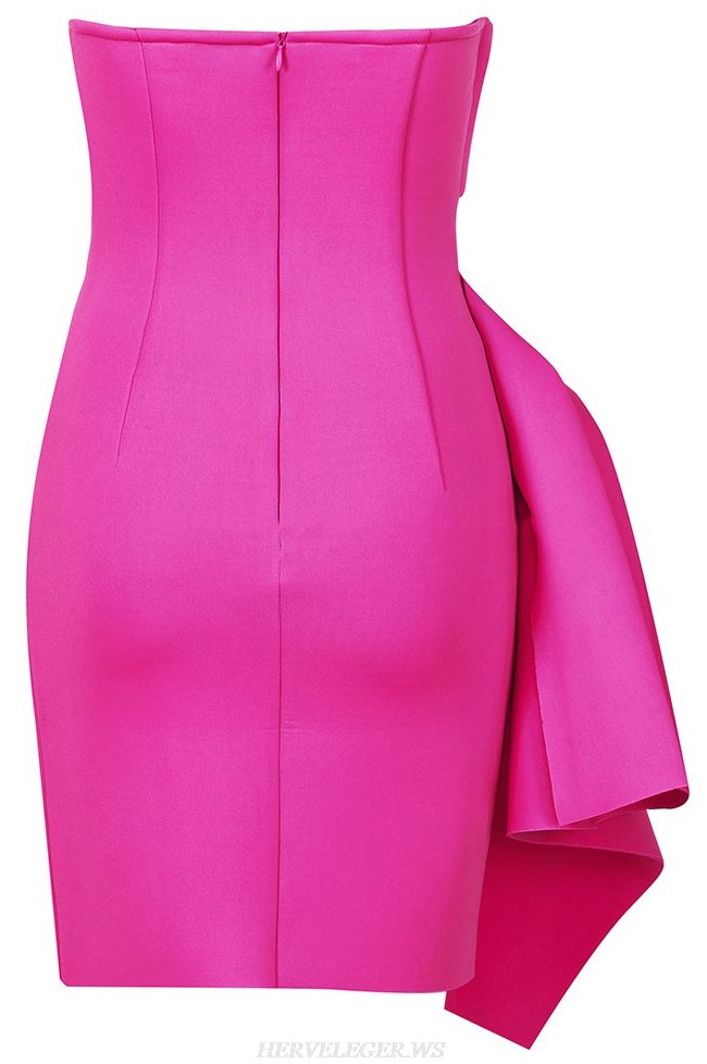 Herve Leger Pink Strapless Draped Asymmetric Dress