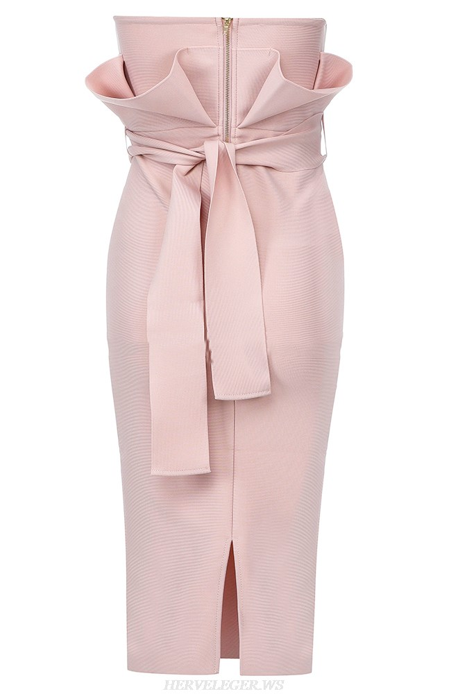 Herve Leger Nude Pink Strapless Frill Detail Dress