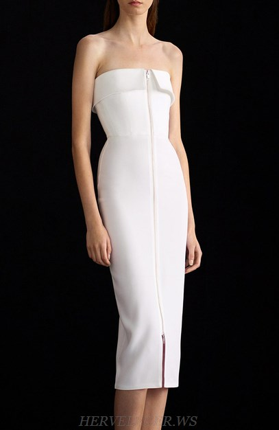 Herve Leger White Strapless Front Zipper Dress