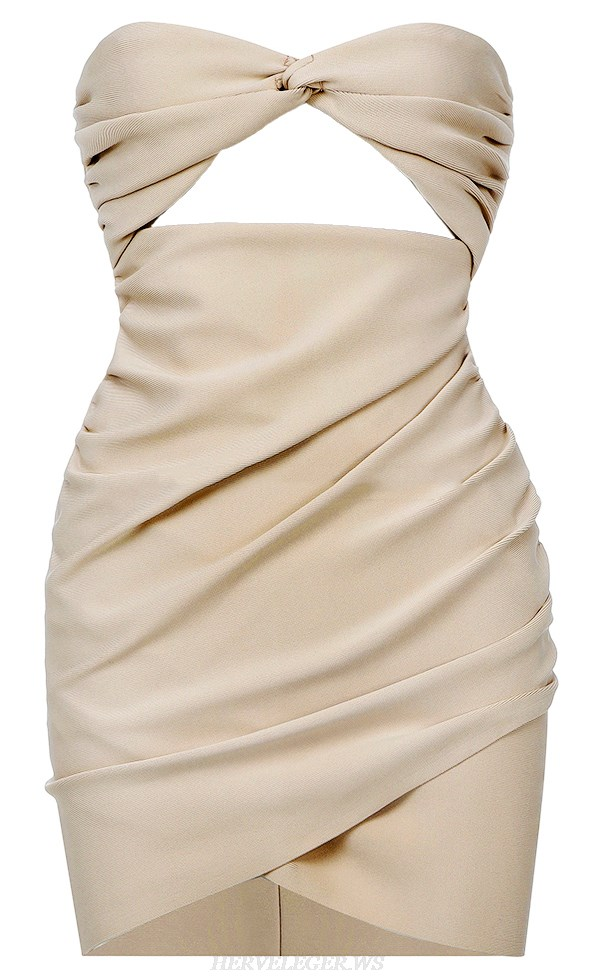 Herve Leger Nude Strapless Ruched Dress