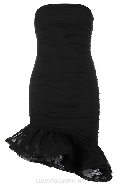 Herve Leger Black Strapless Ruched Mesh Frill Dress