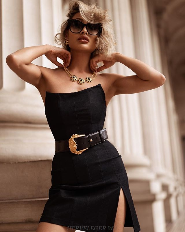 Herve Leger Black Strapless Structured Dress