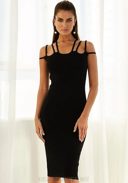 Herve Leger Black Strappy Dress
