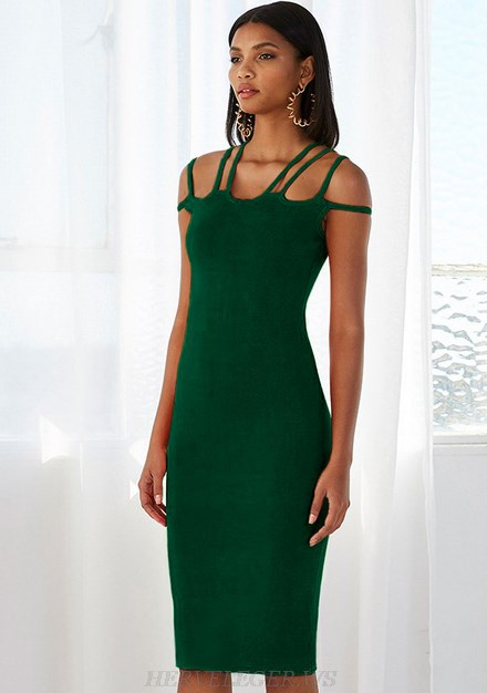 Herve Leger Green Strappy Dress