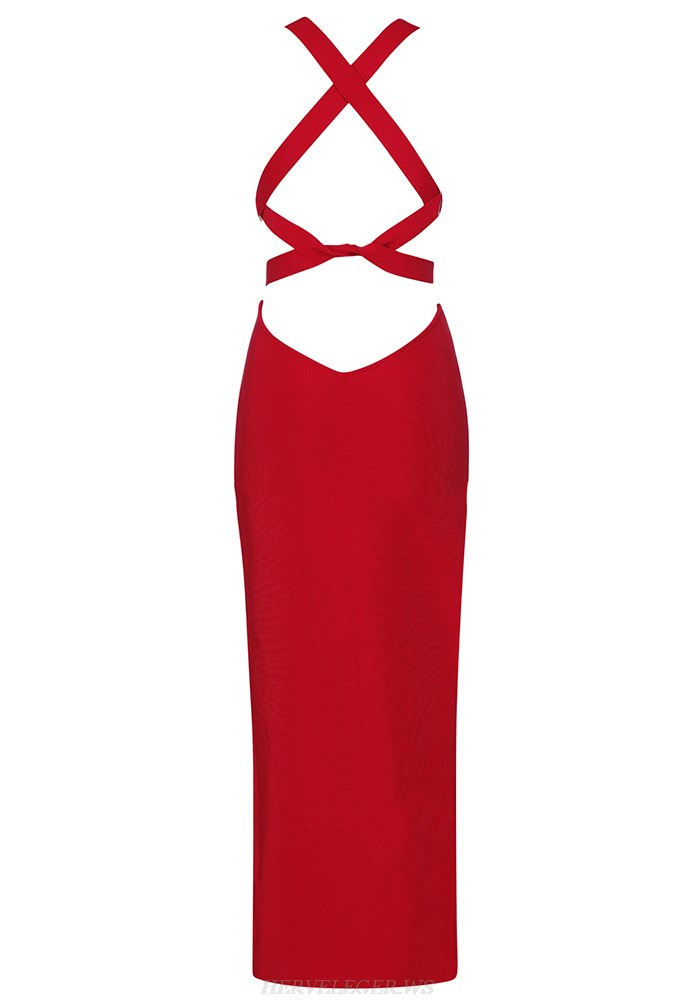 Herve Leger Red Strappy Dress