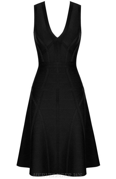 Herve Leger Black Structured A Line Dress