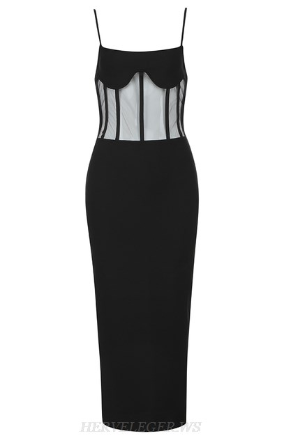 Herve Leger Black Structured Mesh Strap Dress