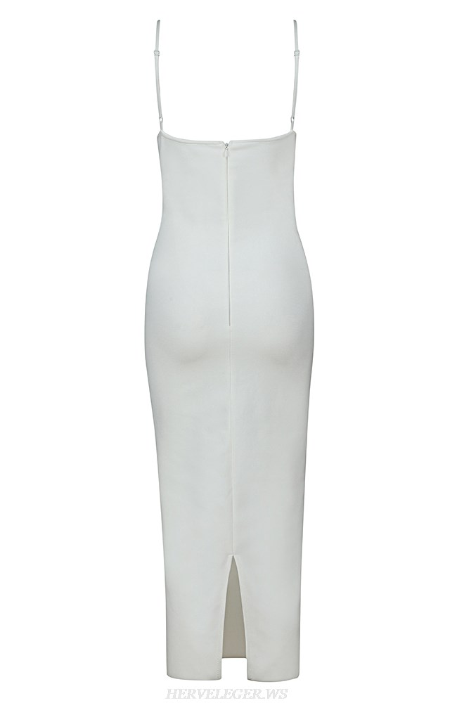 Herve Leger White Structured Mesh Strap Dress