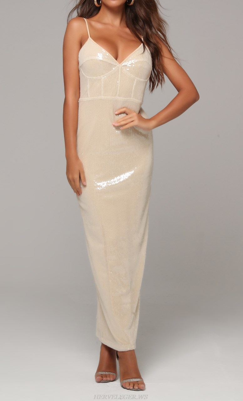 Herve Leger Light Nude Structured Sequin Gown