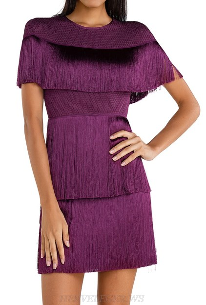 Herve Leger Purple Tassel Mini Dress