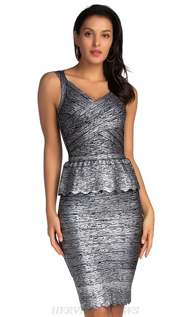 Herve Leger Silver Black Woodgrain Foil Print Peplum Dress