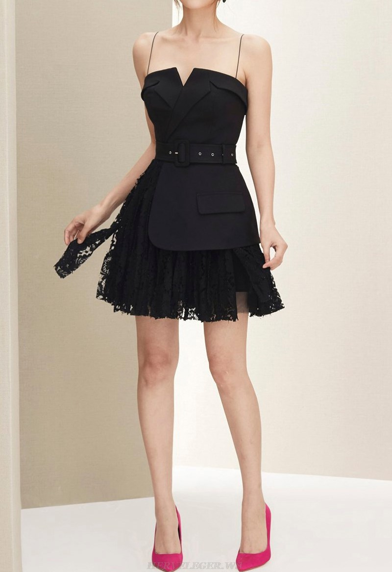 Herve Leger Black Belt Detail Lace A Line Dress