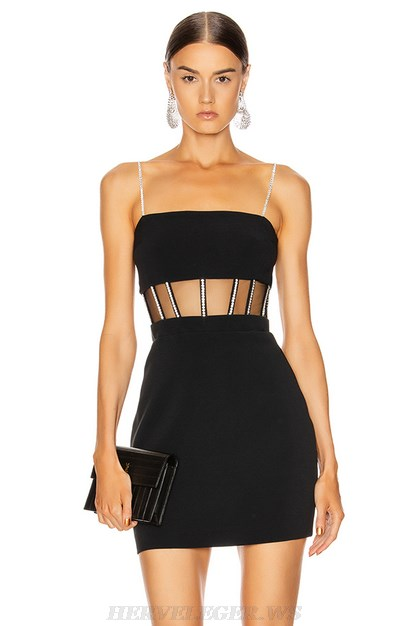 Herve Leger Black Embellished Mesh Mini Dress