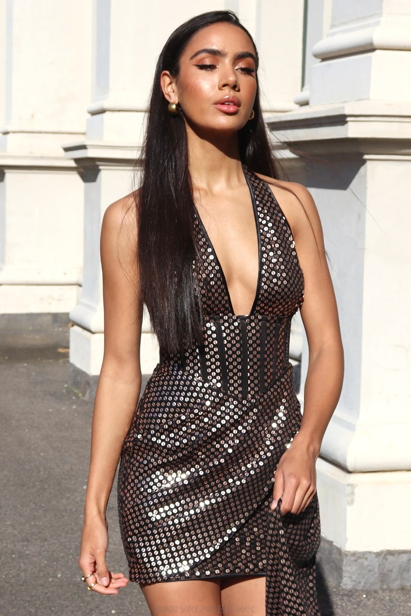 Herve Leger Gold Halter Deep V Neck Sequin Dress
