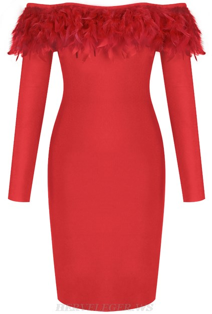 Herve Leger Red Long Sleeve Feather Bardot Dress
