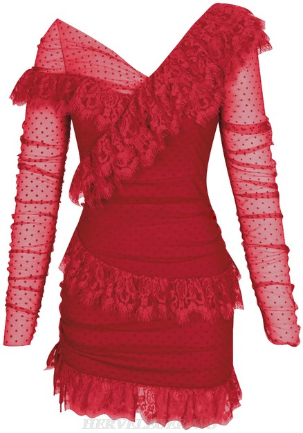Herve Leger Red Long Sleeve Mesh Lace Dress