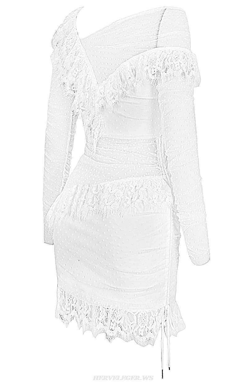 Herve Leger White Long Sleeve Mesh Lace Dress
