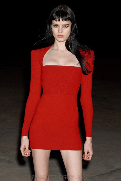 Herve Leger Red Long Sleeve Structured Dress
