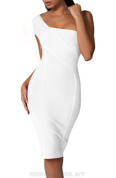 Herve Leger White One Shoulder Bardot Dress