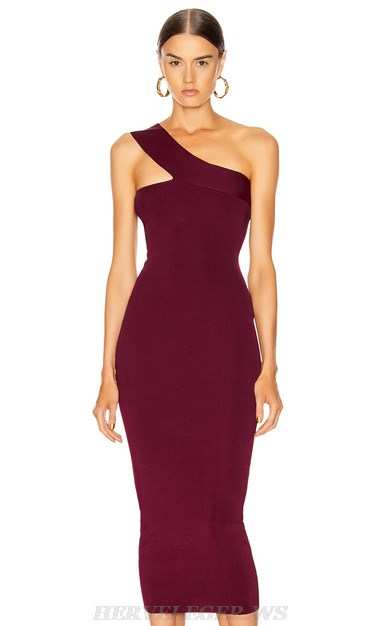 Herve Leger Burgundy One Shoulder Dress