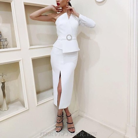 Herve Leger White One Sleeve Dress
