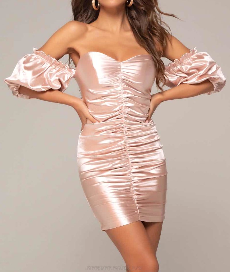Herve Leger Pink Puff Sleeve Bardot Ruched Satin Strapless Dress
