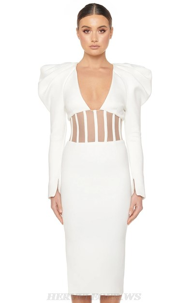Herve Leger White Puff Sleeve Structured Mesh Dress