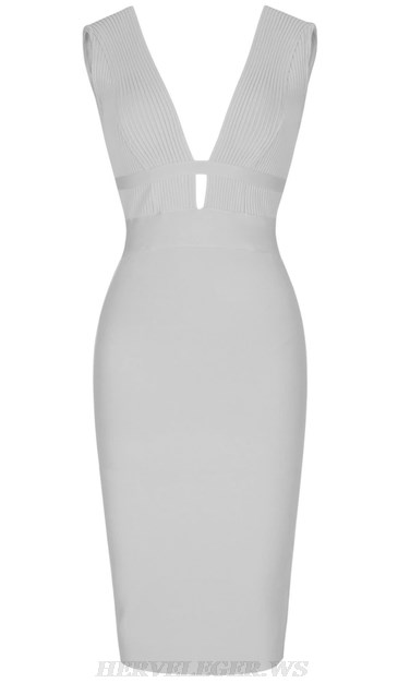 Herve Leger White Ribbed Plunge V Neck Dress