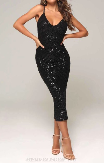 Herve Leger Black V Neck Sequin Dress